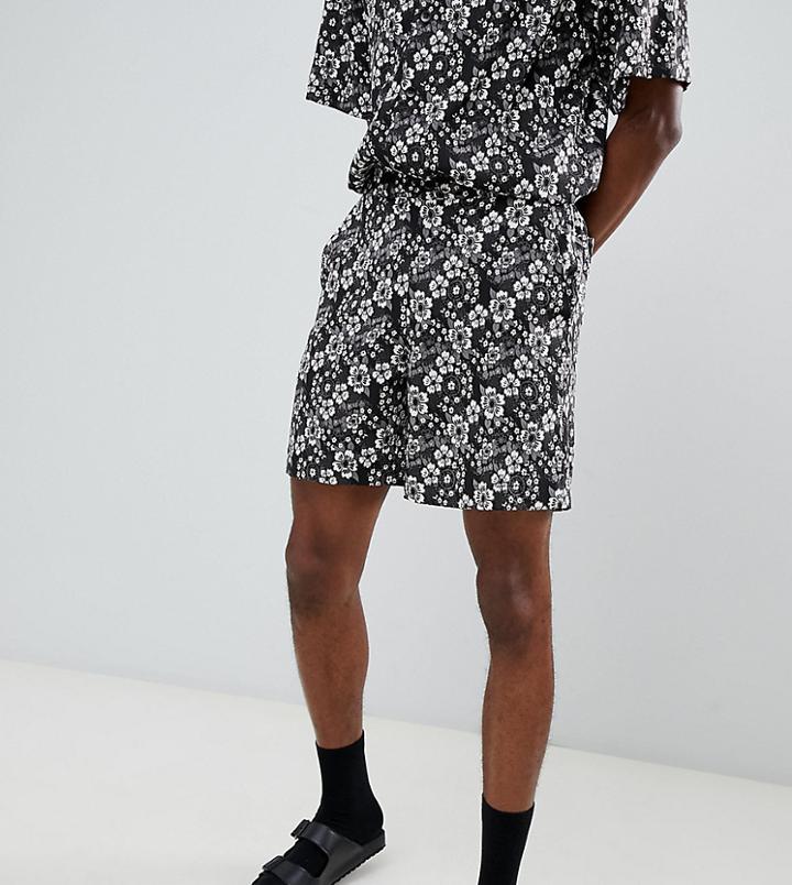 Sacred Hawk Shorts In Floral Print - Black