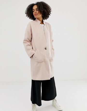 Native Youth Wool Blend Cocoon Coat-pink