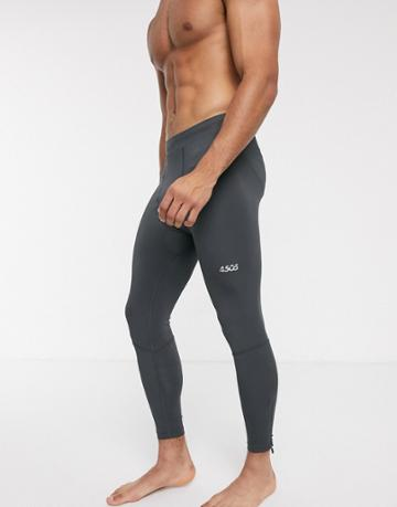 Asos 4505 Running Tights With Zips And Reflective Detail-gray