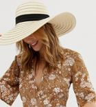 South Beach Exclusive Oversize Straw Hat With Bow - Beige