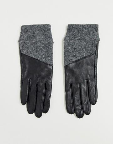 Asos Design Leather Gloves With Rib Cuffs And Touch Screen In Black And Gray - Black