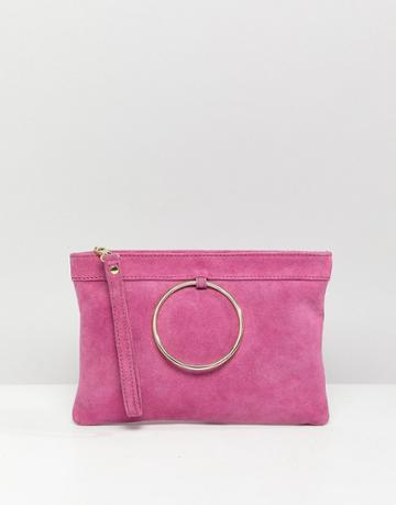 Asos Design Zip Top Suede Clutch Bag With Ring Detail-pink