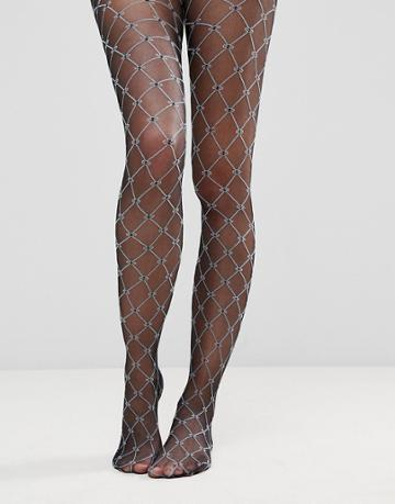 Asos Diamond Print Tights - Black
