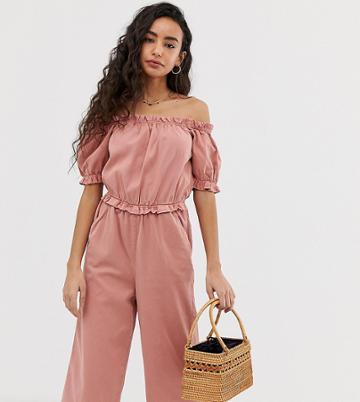 Miss Selfridge Petite Bardot Jumpsuit With Puff Sleeves In Pink