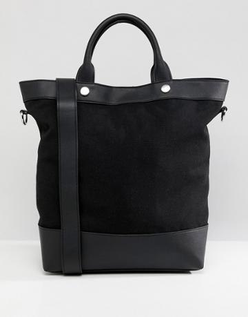 Asos Design Canvas And Pu Mix Shopper Bag - Black