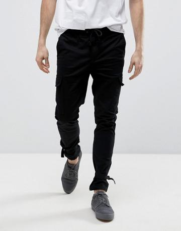 Asos Skinny Cargo Joggers With Ankle Strap In Black - Black