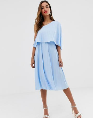 Asos Design One Shoulder Pleated Midi Dress - Blue