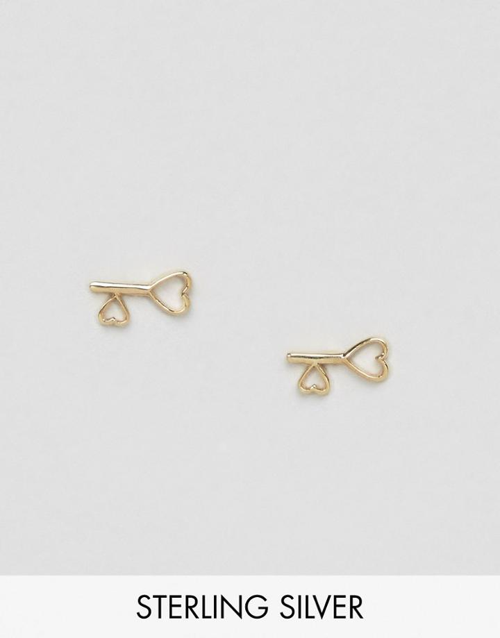 Asos Gold Plated Sterling Silver Heart Key Earrings - Gold