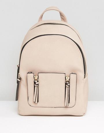 New Look Mini Zip Pocket Backpack - Stone