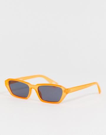 Asos Design Rectangle Sunglasses With Plastic Neon Orange Frame With Smoke Lenses - Orange