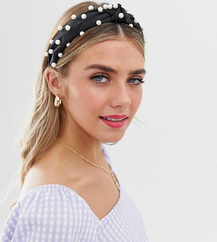 My Accessories London Exclusive Black Satin Headband With Pearl Embellishment