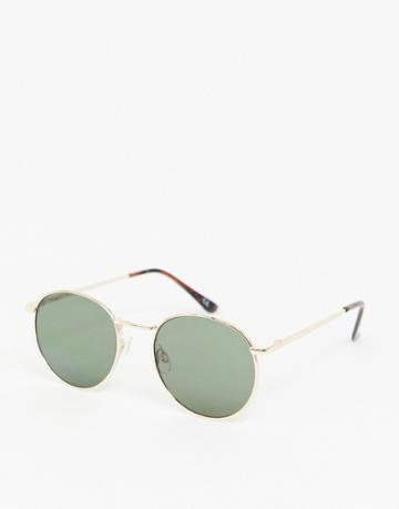 Asos Design 90s Metal Round Sunglasses In Gold With G15 Lens - Gold