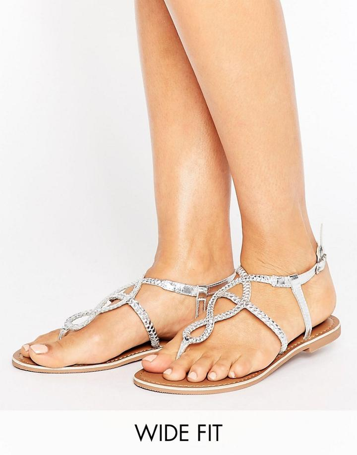 New Look Wide Fit Leather Plaited Flat Sandals - Silver