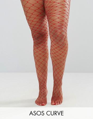 Asos Curve Oversized Fishnet Tights Red - Red