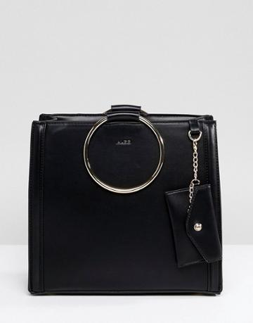 Aldo Tote Shopper Bag With Circle Ring Handle Detail - Black