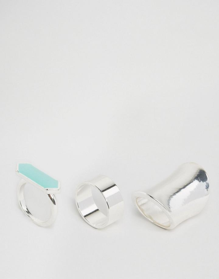 Missguided Silver Three Pack Ring Set - Silver