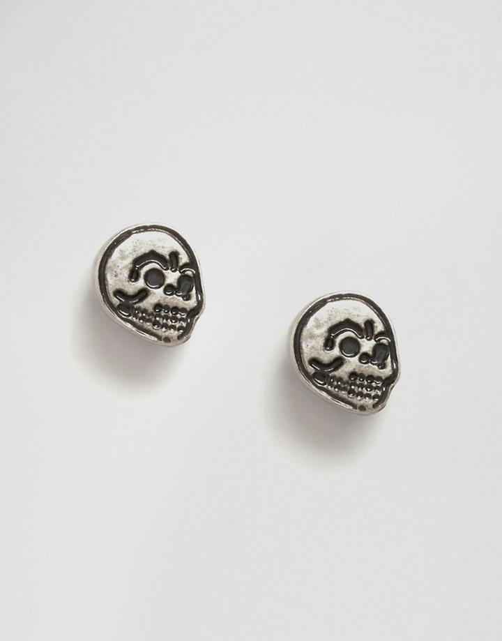 Cheap Monday Mini Skull Earrings - Silver