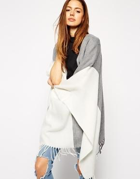 Asos Cape In Color Block - White