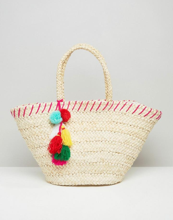 South Beach Straw Beach Bag With Pom Pom Detail - Cream