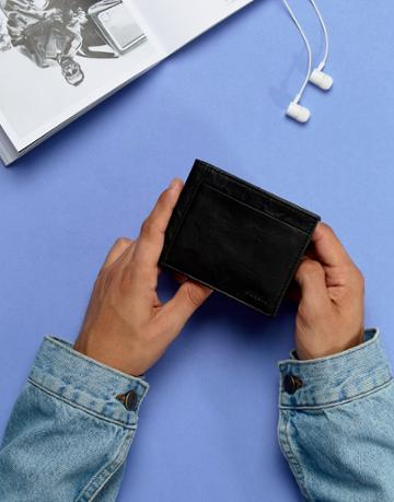 Fossil Bifold Wallet In Black With Flip Id In Leather - Black