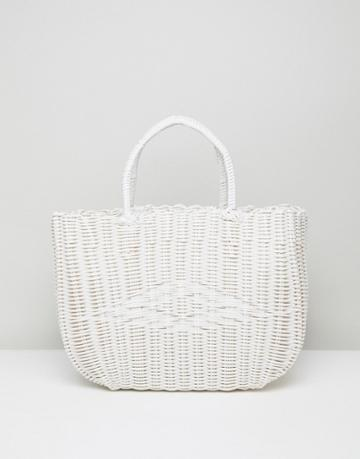 Bershka Basket Weave Shopper In White - White
