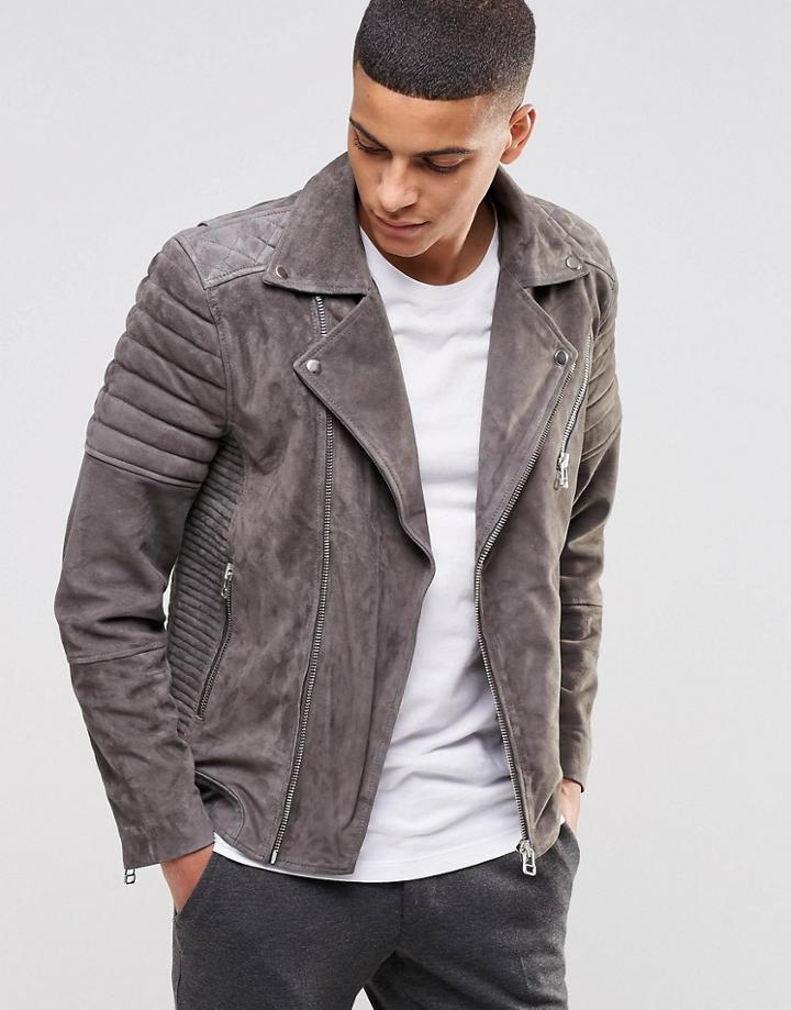 Selected Suede Biker Jacket - Gray