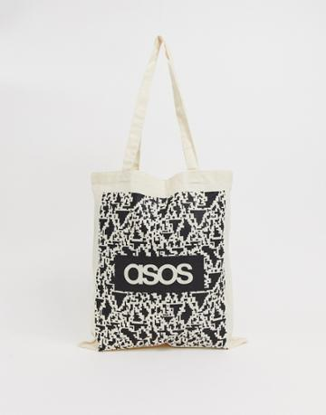 Asos Design Tote Bag In Beige With Noise Print And Brands List - Beige