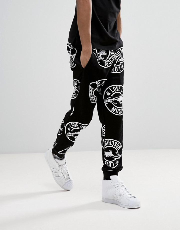 Love Moschino All Over Jaguar Print Joggers - Black