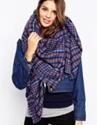 Asos Oversized Scarf In Blue Tweed - Blue