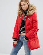 New Look Padded Faux Fur Hood Jacket - Red