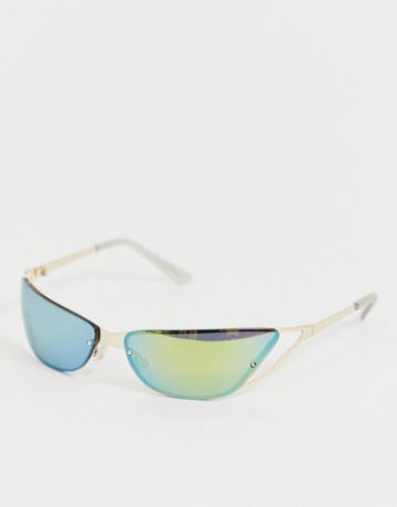 Asos Design Cat Eye Cut Out Detail Visor Fashion Glasses - Gold