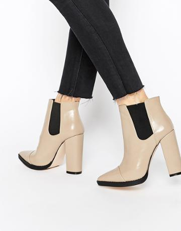 Asos Easy To Know Pointed Chelsea Ankle Boots - Taupe