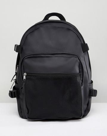 Asos Backpack With Internal Laptop Pouch In Black Rubberised Finish With Mesh Pocket - Black