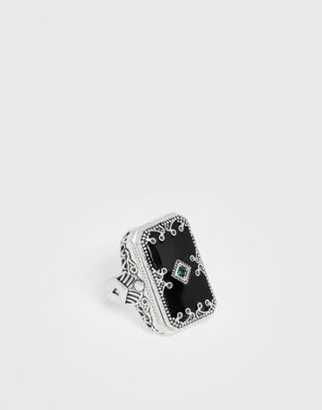 Uncommon Souls Statement Ring In Black - Black