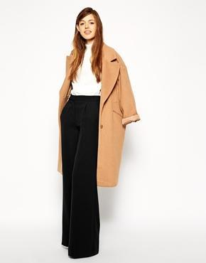 Asos Wide Leg Luxe Crepe Pants - Black