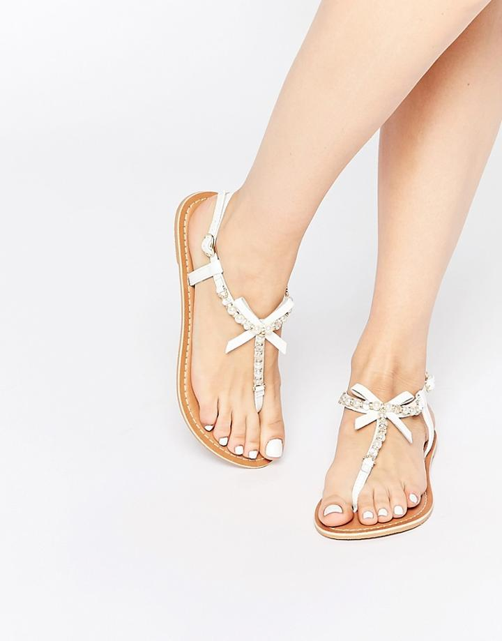 Asos Florence Embellished Leather Sandals - White