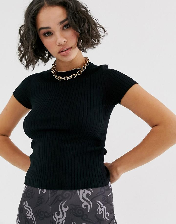 Bershka Ribbed Knitted Shortsleeve Top In Black