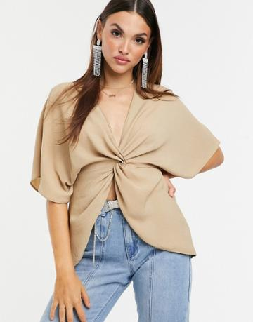 Asos Design Knot Front Top With Kimono Sleeve - Brown