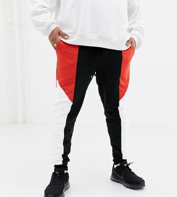 Asos Design Plus Retro Track Skinny Joggers With Colour Blocking - Black
