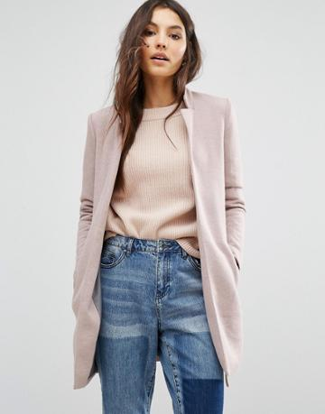Only Edge To Edge Coat - Pink
