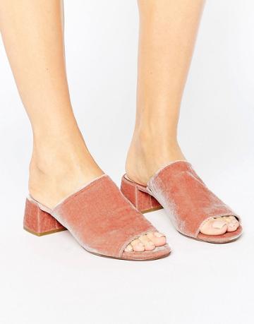 Dune Blush Velvet Heeled Mules - Pink