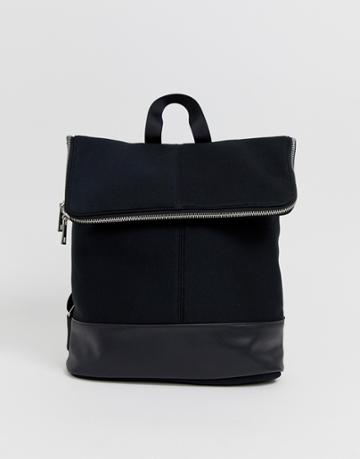 Asos Design Foldover Backpack - Black