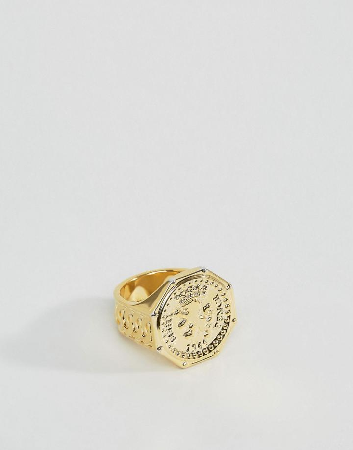 Asos Gold Plated Sovereign Ring - Gold