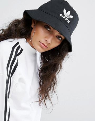 Adidas Originals Logo Bucket Hat In Black - Black