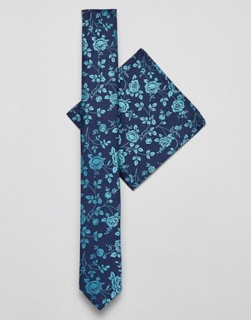 Asos Design Slim Tie And Pocket Square In Navy Floral - Navy