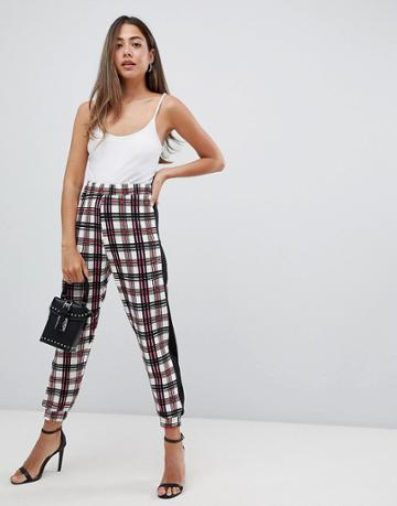 Asos Design Joggers In Pink Check - Multi