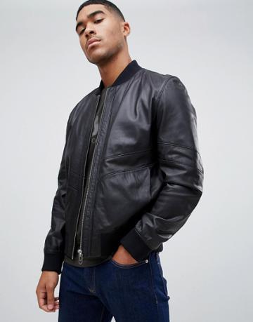 Hugo Lachlan Leather Jacket In Black - Black