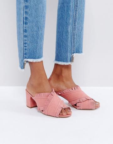 Mango Suede Fringe Mules - Pink
