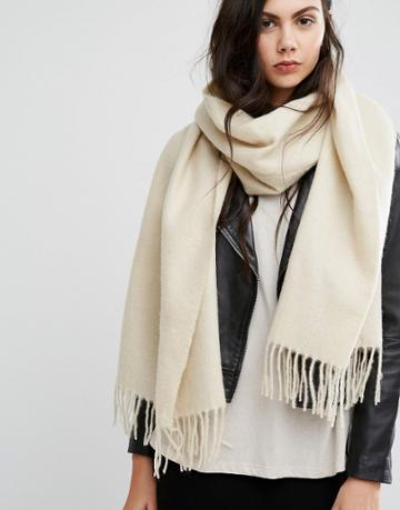 Asos Supersoft Long Woven Scarf With Tassels - Cream