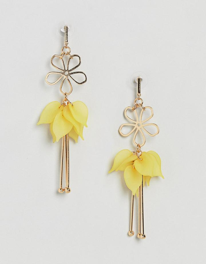 Asos Cut Out Flower And Resin Petal Earrings - Gold